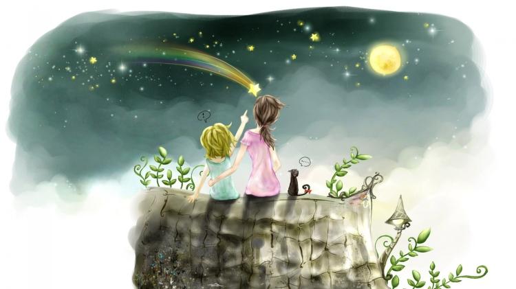 children_drawing_girl_stars_sky_53801_1920x1080